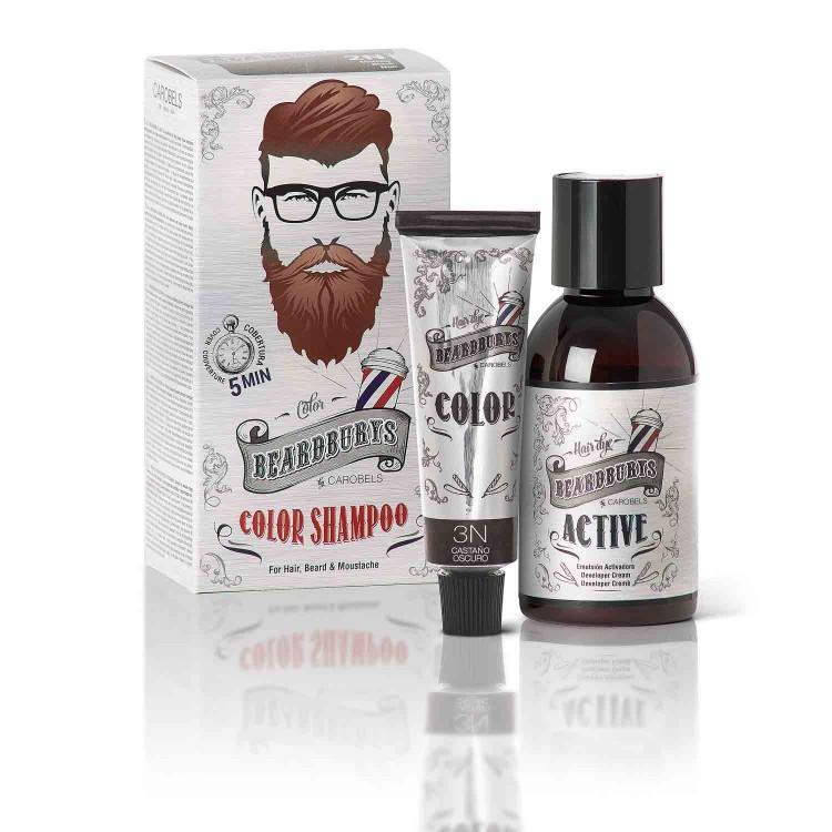 Barvící šampon BEARDBURYS Color Shampoo - na vlasy a vousy - tmavě hnědý