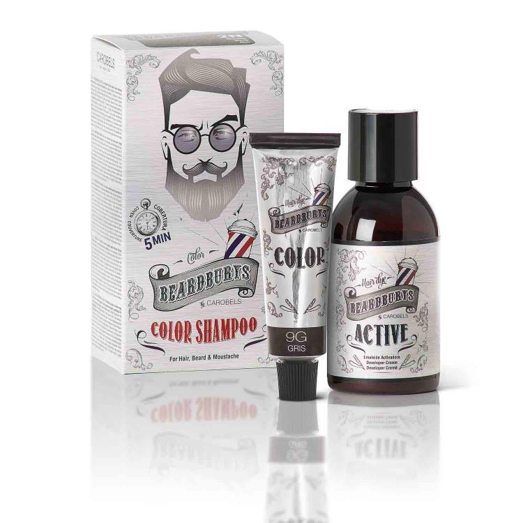 Barvící šampon BEARDBURYS Color Shampoo - na vlasy a vousy - šedivý