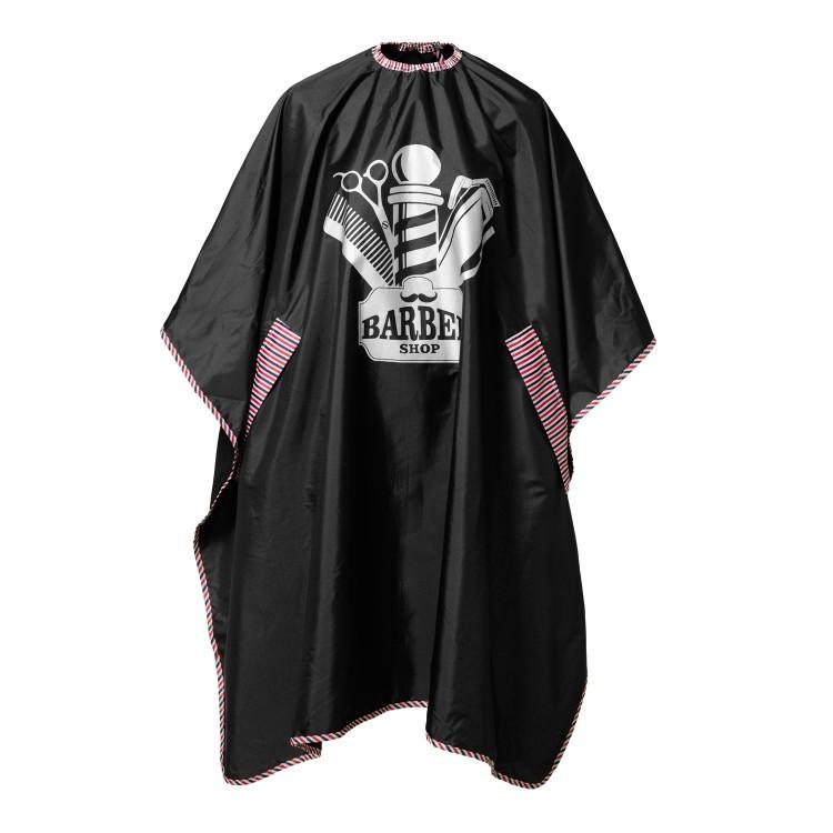 Kadeřnická pláštěnka BARBERSHOP motiv - černá